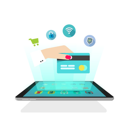 secure shopping: Tablet light rays with icons, hand holding credit card, online secure shopping, abstract ecommerce shop, future mobile technology, electronic wallet, video hologram design vector illustration isolated