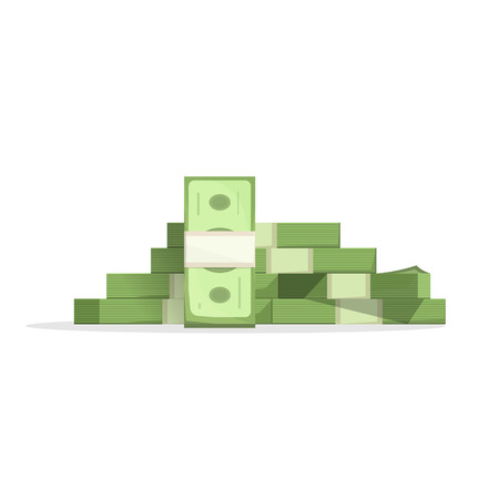 Big Haufen Geld Vektor-Illustration, Haufen Bargeld flachen Cartoon-Stil, US-Dollar, Pack, Paket, Paket, Stapel, Herde, Paket modernes Design auf weißem Hintergrund