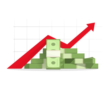 pinnacle: Pile of cash with red rising graph with upward arrow vector illustration, concept of business success, financial growth diagram, aim reaching, analytics, report presentation symbol, isolated on white Illustration