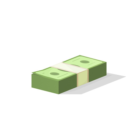 batch of dollars: Pile of money vector illustration, single flock of cash flat icon, American dollars, pack, packet, parcel, batch, package modern design isolated on white background