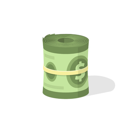rolled: Money roll 3d vector icon, bankroll dollar bill rolled flat illustration isolated on white background