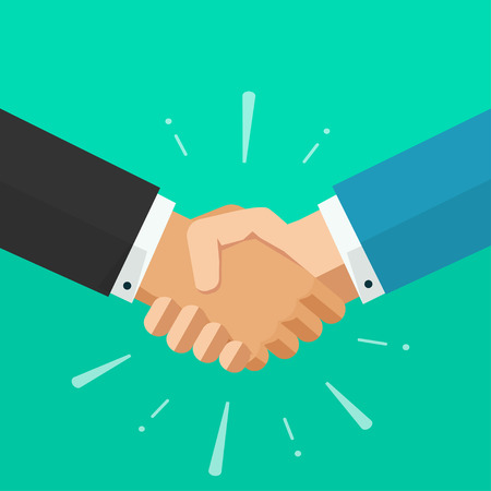 agreement shaking hands: Shaking hands business vector illustration with abstract rays, symbol of success deal, happy partnership, greeting shake, handshaking agreement flat sign modern design isolated on green background