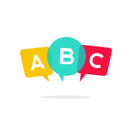 talking dictionary: English school badge vector , language learning emblem icon with bubble speeches and a b c letters inside, symbol of speaking club translation education modern simple flat design isolated on white