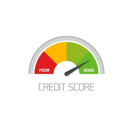 Kredit-Score Skala Symbol guter Wert Vektor zeigt auf weißem Hintergrund, flache bunte Finanzgeschichte Beurteilung der Kredit-Score Meter