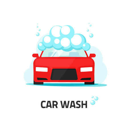 Car wash service label vector illustration, auto washing with shampoo foam bubbles, automobile cleaning center concept, water cloud, flat icon modern design isolated on white background