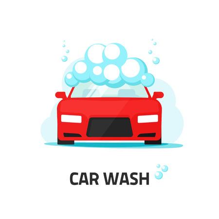 ilustración de lavado de coches etiqueta de servicio del vector, lavado automático con burbujas de espuma de champú, automóvil concepto de centro de limpieza, agua nube, icono del diseño moderno plana aislada en el fondo blanco Ilustración de vector