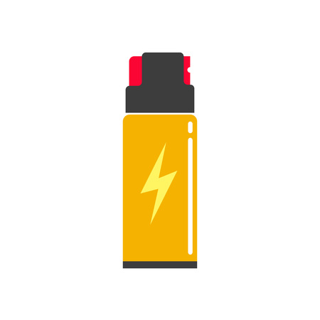 oleoresin: Self defense spray can vector illustration, flat icon, self-defense pepper bottle, concept of human protection technology, safety equipment, security modern design isolated on white