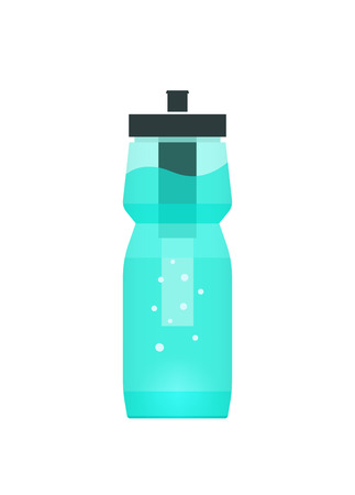 filtering: Water filtration bottle illustration for sport and travel, concept of portable filtering technology, purification device tool, filter cup, modern flat icon design isolated on white