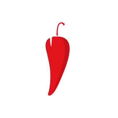 chili pepper: Chili pepper vector illustration, spicy food symbol template, hot shape label, flat icon modern design isolated on white