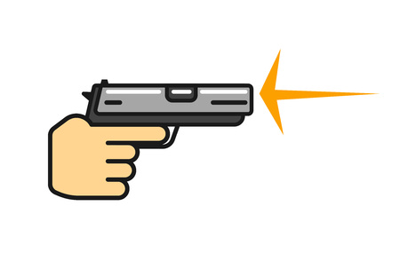 Hand holding gun shooting vector, flat cartoon outline pistol in hand