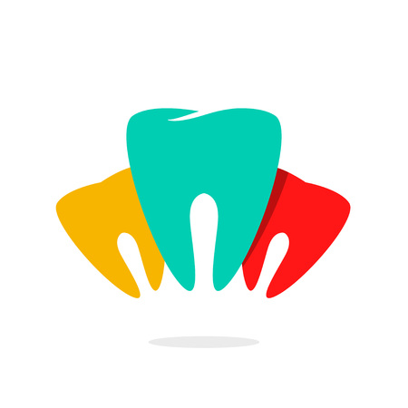 dental implants: Abstract teeth dental care vector , concept of implants, dentist office symbol, prosthetics, teeth recovery medical technology, modern brand design, trend illustration isolated