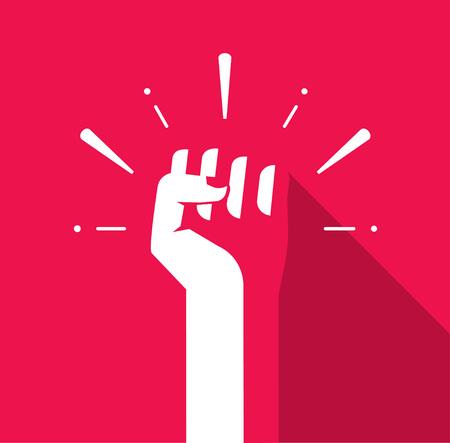 Fist hand omhoog vector icon flat symbool, sovjet, radicale, patriottische vrijheid sticker, solidariteit, opstand, propaganda, militair, plonsen, badge geïsoleerd op rood, moderne illustratie ontwerp teken, label