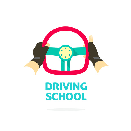 driving school: Driving school symbol template, hands holding steering wheel, thumb up, trip concept, guide, equipment, rudder, extreme driving, training, flat style, modern design vector illustration isolated