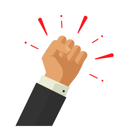 Winner hand up fist vector sign concept, worker hand, employees revolution against, fist acheivment vector concept, freedom revolution, agressive fight symbol Vettoriali
