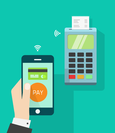 Mobile phone connected to wireless POS terminal, NFC mobile point of sale processing , concept of payment communication technology, cashier hand holding smartphone isolated on green flat vector design