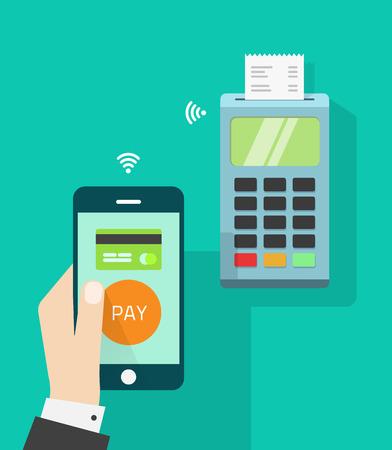 Telefono cellulare connesso al terminale POS wireless, NFC punto vendita mobile di vendita, concetto di tecnologia di comunicazione di pagamento, cassiere mano azienda smartphone isolato su verde vettoriale piatto disegno