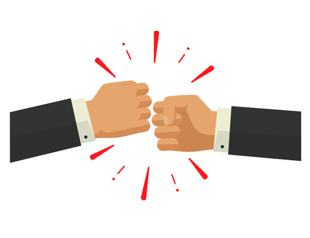 bumps: Two fists together vector illustration, two hands in air bumping together, punching label, fighting cartoon gesture, modern design sign isolated
