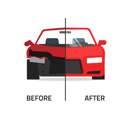 Car body frame repair vector illustration, auto body paint concept, automobile service, vehicle automotive technology help, before after, flat icon isolated crushed auto, poster design banner emblem