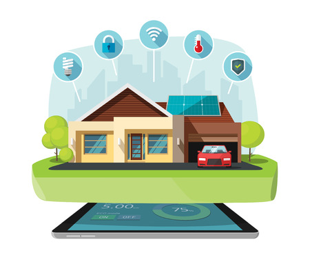 centralized: Smart home modern future house vector illustration flat, lighting, heating, air conditioning, saving energy efficiency, security safety, sun solar module power control technology centralized systems