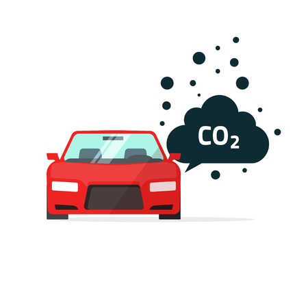 co2 emissions vector illustration, carbon dioxide emits symbol, smog pollution concept, smoke pollutant, damage, contamination, garbage, combustion products isolated on white flat modern design sign Vettoriali