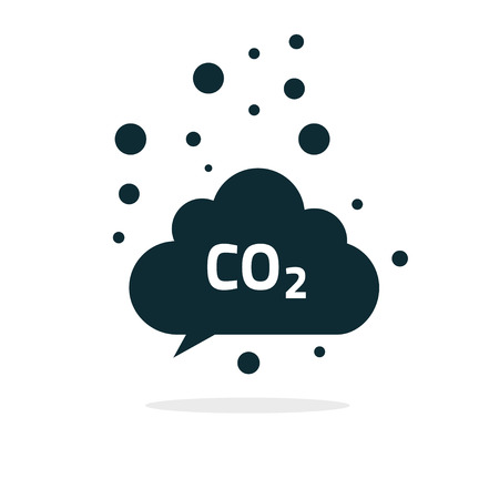 greenhouse gas: co2 emissions icon cloud vector flat, carbon dioxide emits symbol, smog pollution concept, smoke pollutant damage, contamination bubbles, garbage label, combustion products isolated modern design sign Illustration