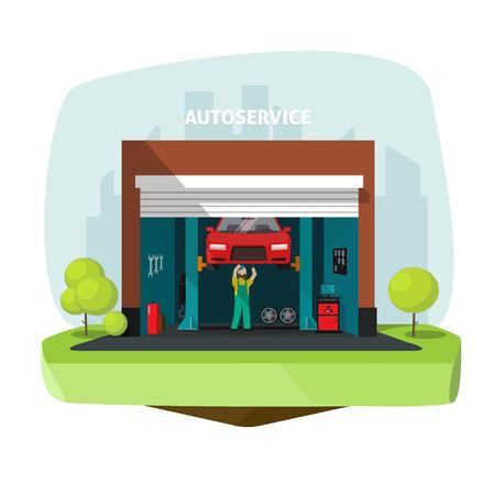 Car repair help garage, auto service center vector illustration with mechanic working under automobile, repairman flat modern graphic design, tools set, automotive electronics, computer diagnostics