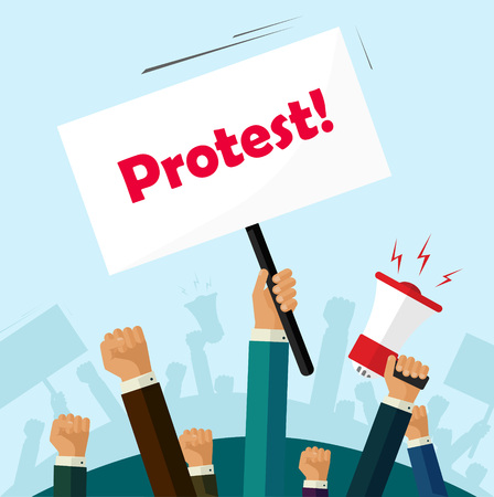 protest poster: Hands holding protest signs and bullhorn, crowd of people protesters background, political, politic crisis poster, fists, revolution placard concept symbol flat style modern design vector illustration