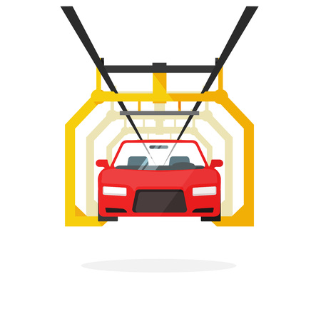 automobile industry: Car production line vector illustration auto maintenance process, automobile manufacturing, emergency service, product release technology industry, repairs template, robot machinery industry design. Illustration