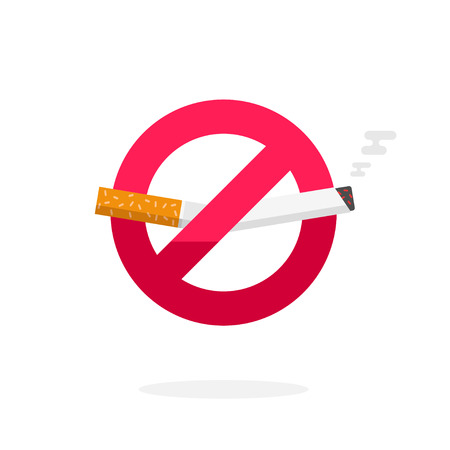 dont sign: No smoking sign, dont smoke vector icon badge isolated on white background, label broken cigarette