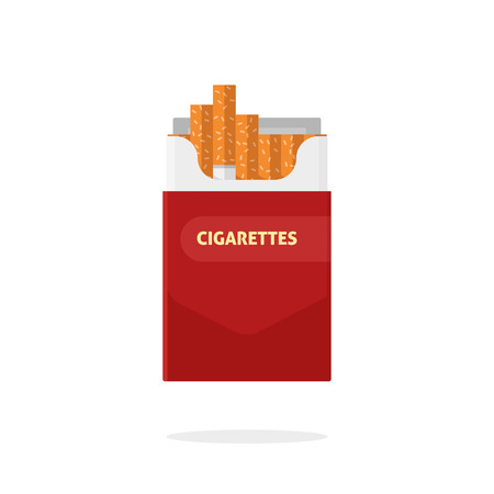 toxic product: Open cigarettes pack box flat style vector illustration isolated on white background, cigarette packet carton box Illustration