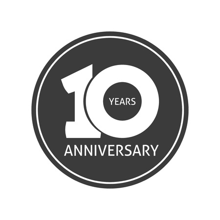 10th: 10 years anniversary sticker vector icon, 10th year birthday label, black and white stamp isolated