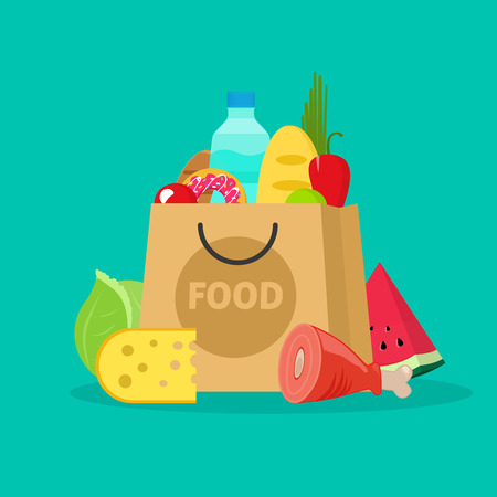 white paper bag: Grocery bag vector illustration isolated on white, paper bag of groceries flat cartoon shopping bag with fresh products Illustration