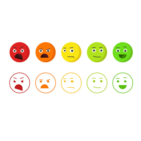 Feedback emoticons vector icons, concept of satisfaction rating emoji, level of rank, customer feedback emotions, review smileys isolated on white background Çizim