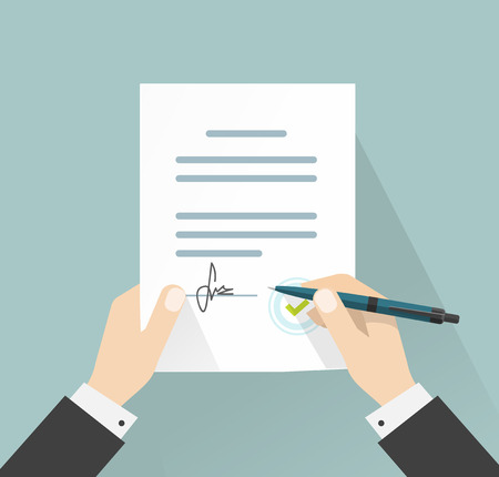 signing: Businessman signing document vector illustration, man hands holding contract signed and pen, legal agreement with signature and stamp top view, flat cartoon design