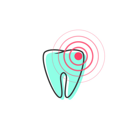 periodontitis: Tooth pain vector icon isolated on white background, line outline cartoon symbol of ache tooth, caries illness concept