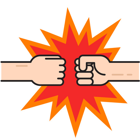 Two fists bumping together vector illustration, two hands with fists in air punching, concept of fight, strength cartoon gesture on white background, flat line outline art