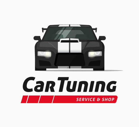 car tuning: Car tuning shop poster vector banner, sticker symbol, sport auto service centre badge, technology sign, performance parts label, autoservice station ribbon, modern illustration design isolated