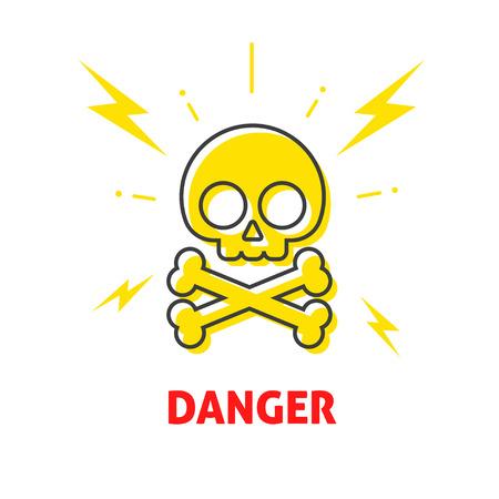 vector skull danger sign: Electrical shock hazard sign vector badge, electricity protection warning danger sticker, high potential flat icon label with skull crossbones emblem illustration symbol isolated on white, lightning Illustration