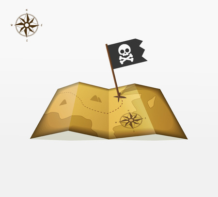 coordinates: Treasure map vector illustration with coordinates, pirate flag symbol flat icon, skull crossbones, vintage compass badge, location, old retro ancient earth concept, isolated design ribbon label