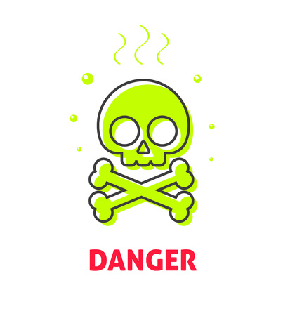 skull and crossbones: Chemical caution label, waste danger safety sign vector symbol, toxic trash hazard ribbon, warning, alert flat icon badge with skull crossbones, risk tag, concept illustration isolated on white