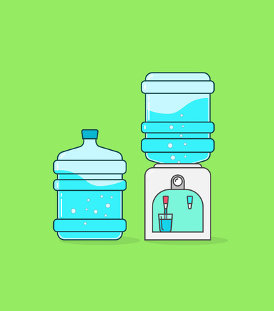 water flowing: Water cooler dispenser vector illustration, outline linear color full concept, flat icon shape, bottle of water with waves and bubbles, hot water flowing in glass cup, modern design pictogram isolated