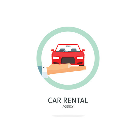 automobile dealer: Rent a car agency vector template, hand holding auto symbol, icon flat ribbon, rental badge sticker, automobile dealer sale label concept, modern illustration design, sign isolated on white tag