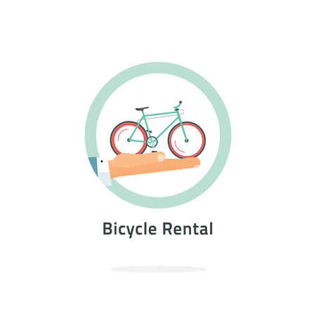 rental agency: Bycicle rent vector badge, bicycle rental icon flat with hand holding bike , rental agency symbol concept, shop label, travel tours sticker illustration isolated on white, modern emblem design