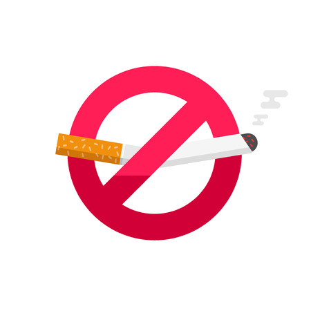 don't: No smoking sign, dont smoke vector icon badge isolated on white background, broken cigarette label Illustration