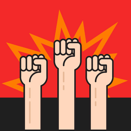 activists: Fists hands up vector illustration, protest sign, crowd of people protesters, politic crisis, revolution concept, war activists, flat cartoon outline line design on black red background Illustration