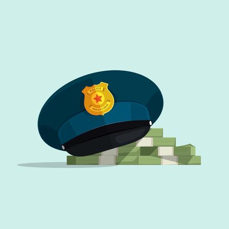 Concepto de corrupción financiera, la seguridad ley oficial, soborno, sombrero de policía de la historieta plana cubre montón de dinero ilustración vectorial en el fondo azul