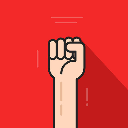 powerful: Fist hand up vector icon isolated on red background, revolution idea, freedom symbol, soviet concept, flat cartoon line art outline illustration