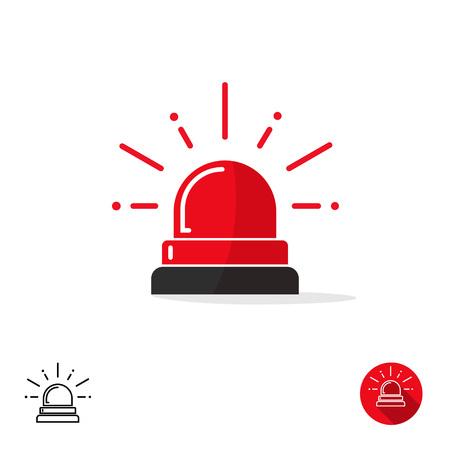 Icono de emergencia aislado en el fondo blanco, luz sirena de ambulancia, policía intermitente de un coche, alerta roja ilustración vectorial Ilustración de vector