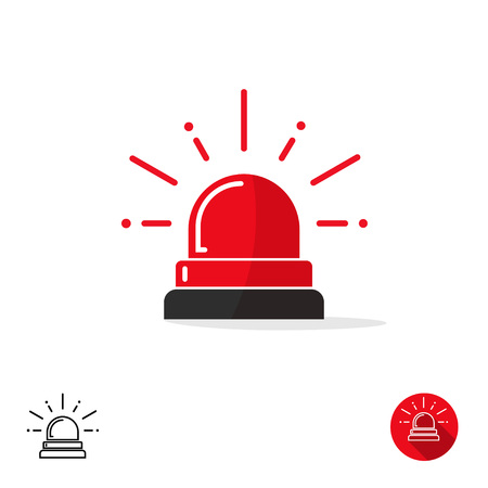 Notfall-Symbol auf weißem Hintergrund, Ambulanz Sirene Licht, Polizeiauto Flasher isoliert, Alarmstufe Rot Vektor-Illustration Vektorgrafik