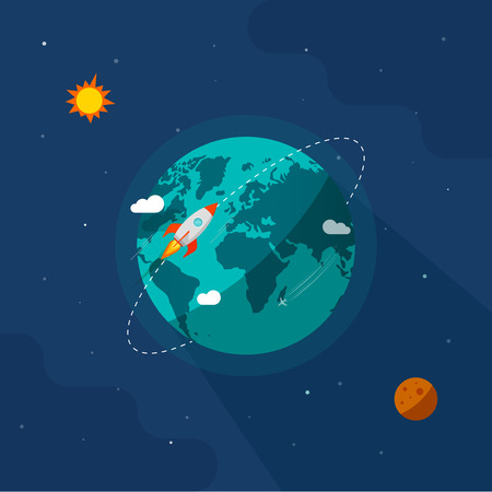 Earth in space vector illustration, rocket space ship flying around planet orbit on solar system universe, moon, starts flat cartoon design Illusztráció